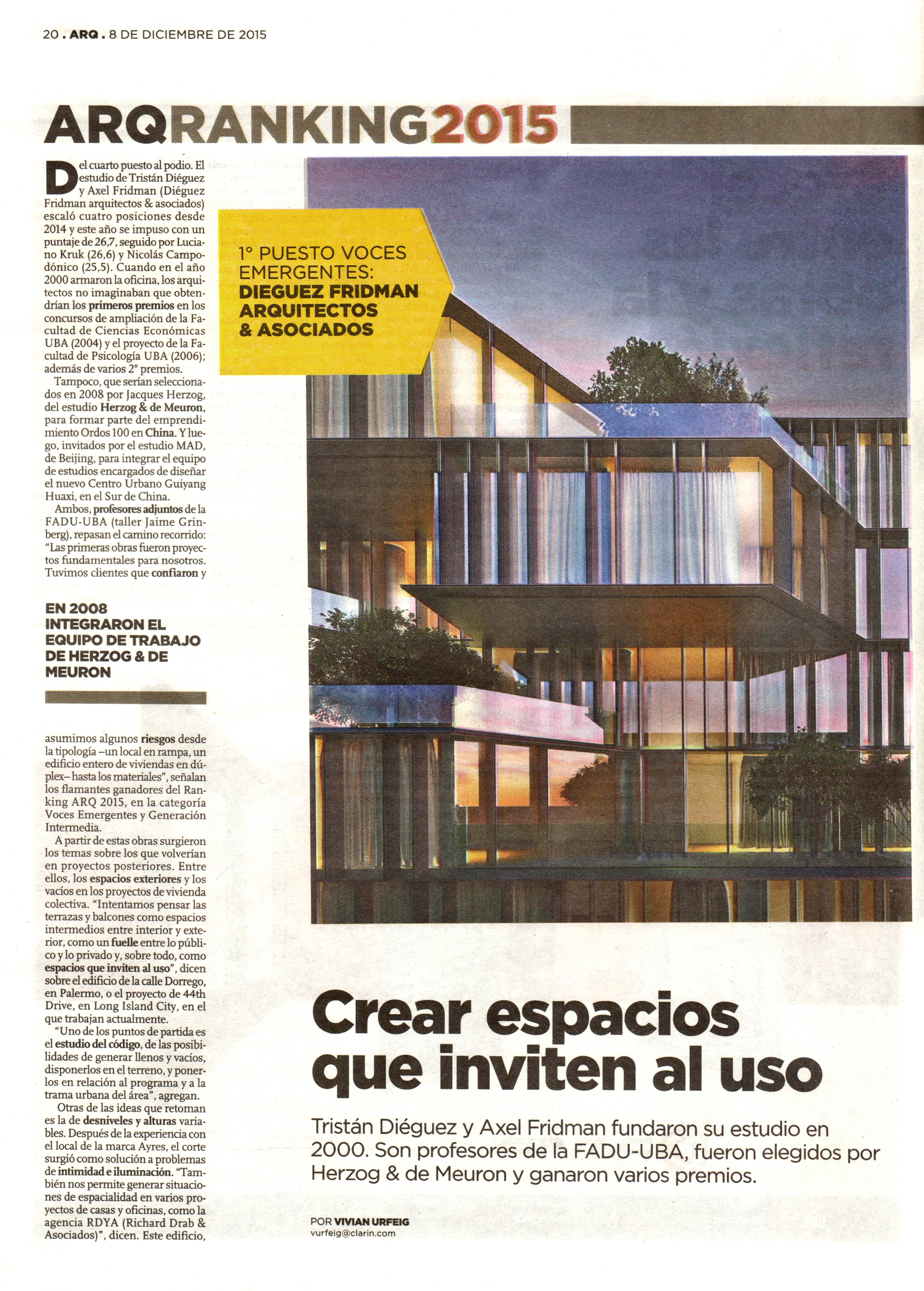No 1 in clarin arq 2015 ranking of architectural design for Architecture design company ranking